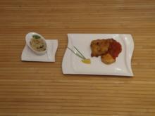 Fischfilet im Biermantel mit fruchtiger Tomatensoße und Risotto - Rezept