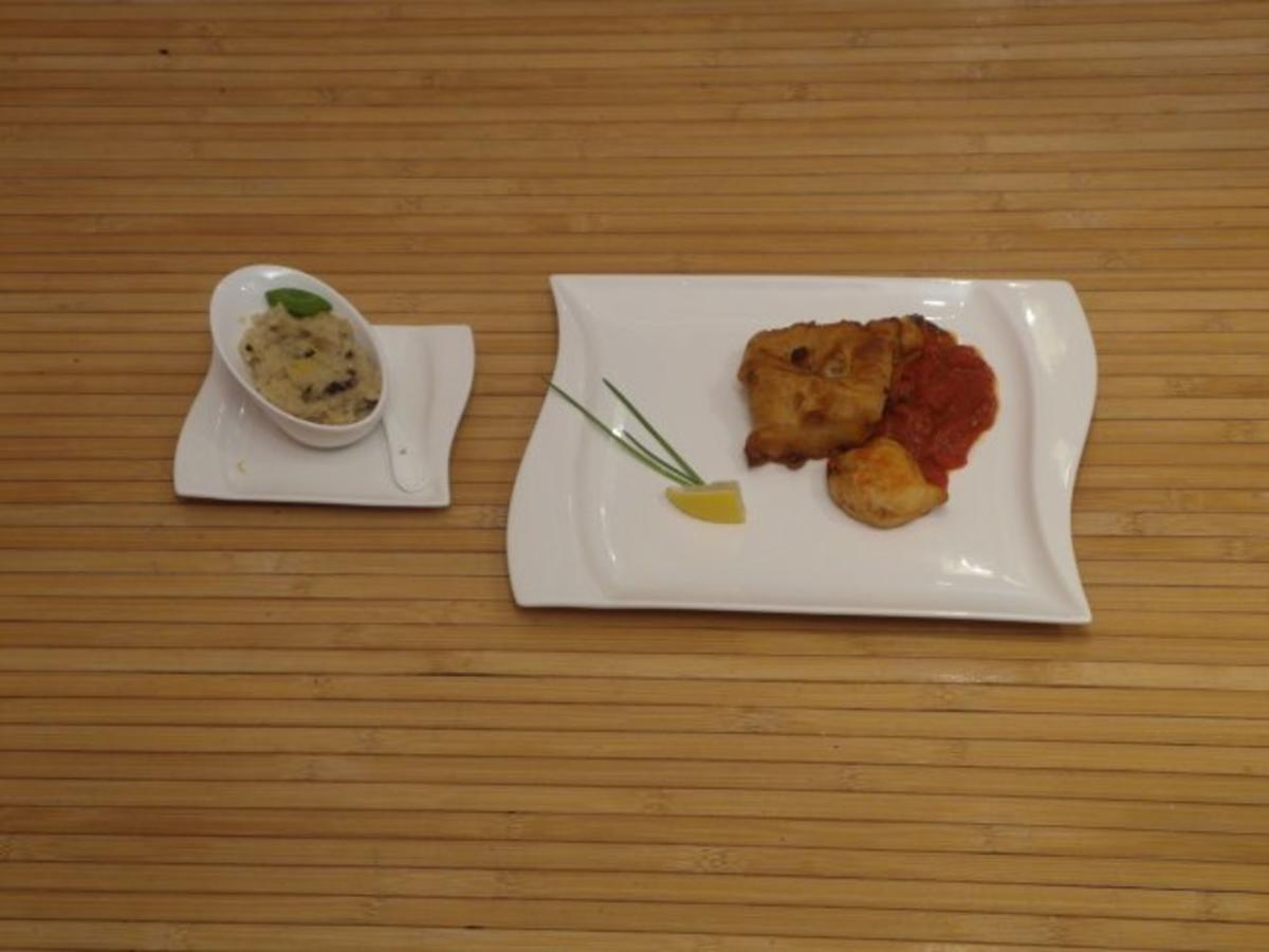 Bilder für Fischfilet im Biermantel mit fruchtiger Tomatensoße und Risotto - Rezept