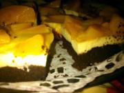 Schoko-Käse Schnitten mit Pfirsich - Rezept