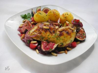 Gebackene Hühnerkeulen mit Gemüse, Portwein und Feigen - Rezept
