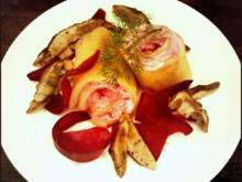 Kartoffel-Rote-Bete-Röllchen mit Steinpilzen - Rezept