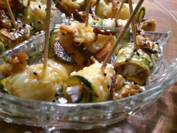 Rezept: gefüllte Zucchini Röllchen mit Feta und Knoblauchstiften