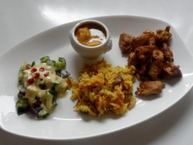 Teriyaki-Hähnchen mit Mango-Erdnuss-Soße, Curry-Möhren-Reis und Granatapfel-Gurken-Salat - Rezept - Bild Nr. 14