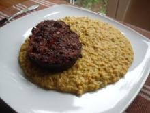 Aubergine mit Zwiebelpaste aus dem Ofen, dazu Dhal - Rezept