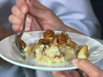 Vegetarisches Menü mit Steinpilzrisotto und Bananenrolle - Rezept