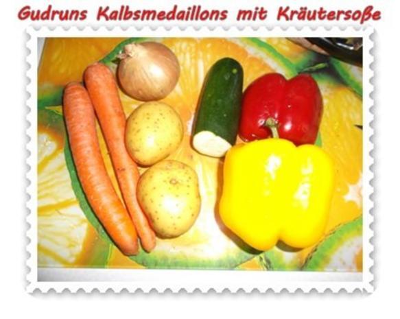 Fleisch: Kalbsmedaillons mit Käse-Kräutersoße und gedämpften Gemüse - Rezept - Bild Nr. 2