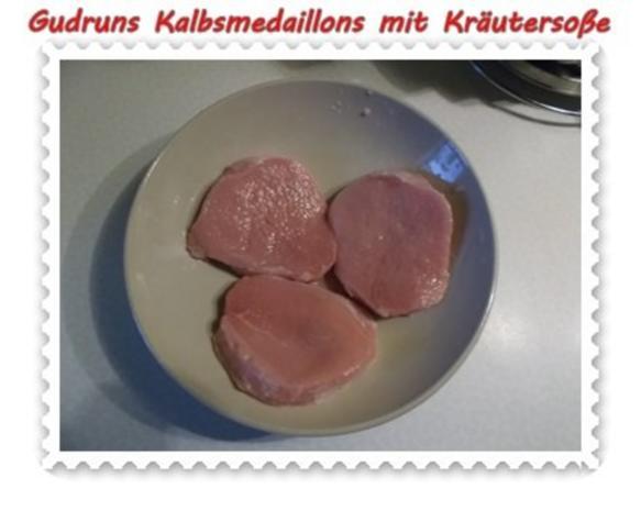 Fleisch: Kalbsmedaillons mit Käse-Kräutersoße und gedämpften Gemüse - Rezept - Bild Nr. 4