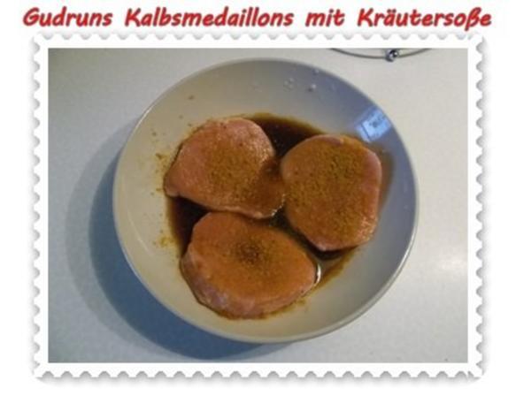 Fleisch: Kalbsmedaillons mit Käse-Kräutersoße und gedämpften Gemüse - Rezept - Bild Nr. 5