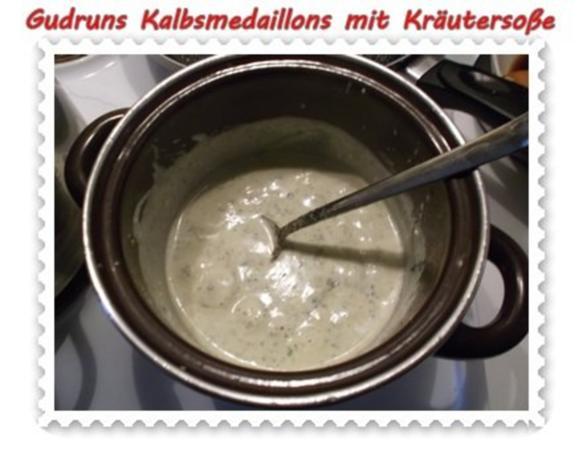 Fleisch: Kalbsmedaillons mit Käse-Kräutersoße und gedämpften Gemüse - Rezept - Bild Nr. 8