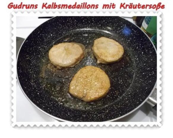 Fleisch: Kalbsmedaillons mit Käse-Kräutersoße und gedämpften Gemüse - Rezept - Bild Nr. 9