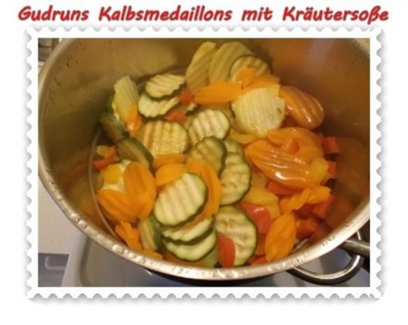 Fleisch: Kalbsmedaillons mit Käse-Kräutersoße und gedämpften Gemüse - Rezept - Bild Nr. 10