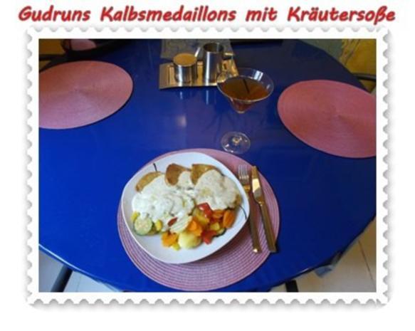 Fleisch: Kalbsmedaillons mit Käse-Kräutersoße und gedämpften Gemüse - Rezept - Bild Nr. 11