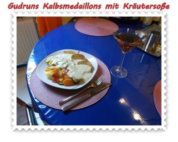 Fleisch: Kalbsmedaillons mit Käse-Kräutersoße und gedämpften Gemüse - Rezept - Bild Nr. 12