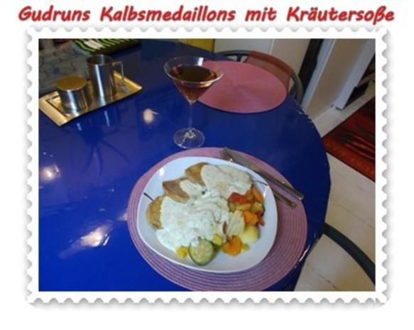 Fleisch: Kalbsmedaillons mit Käse-Kräutersoße und gedämpften Gemüse - Rezept - Bild Nr. 13