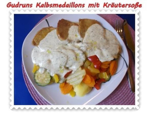 Fleisch: Kalbsmedaillons mit Käse-Kräutersoße und gedämpften Gemüse - Rezept - Bild Nr. 14