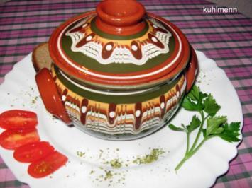 Hähnchenleber/Porree in bulgarischen Tontöpfchen - Rezept