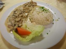 Naturschnitzel  mit Rahmchampignons an Reis - Rezept