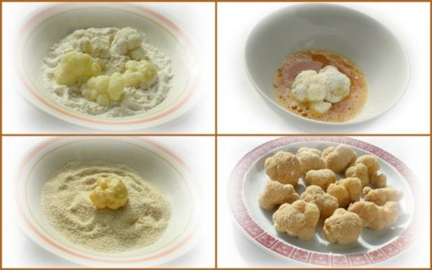 Panierter Blumenkohl dazu gebackene Kartoffeleier - Rezept - Bild Nr. 5