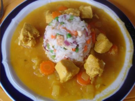 Hähnchenbrustfiletcurry mit Gemüse-Eier-Reis - Rezept