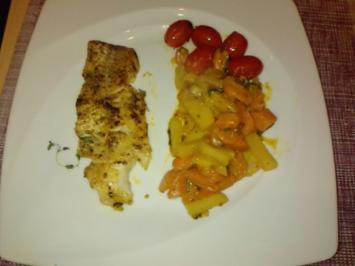 ROBAKOKAGE  Gebratene Rotbarschfilets mit Kohlrabi-Karottengemüse - Rezept