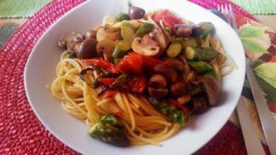 Pasta mit grünen Spargel und Champignons - Rezept