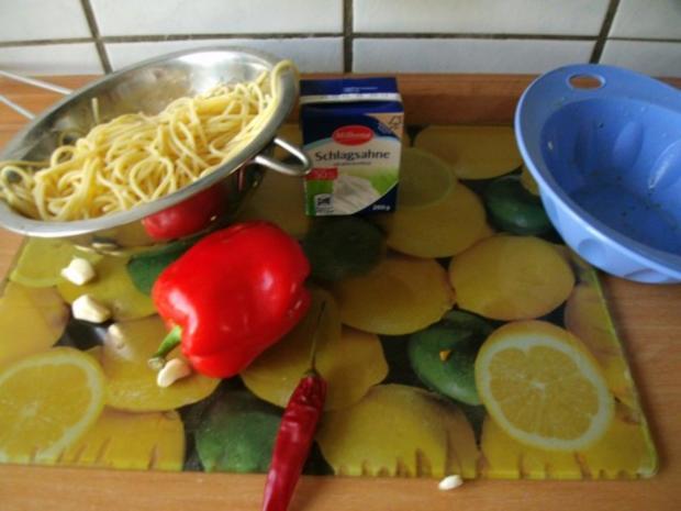 Spaghetti mit Knoblauch Paprika und Garnelen - Rezept - Bild Nr. 5