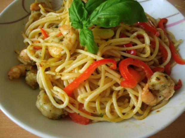 Spaghetti mit Knoblauch Paprika und Garnelen - Rezept - Bild Nr. 2