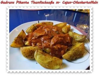 Fisch: Pikante Thunfischsoße mit Cajun-Kartoffelspalten - Rezept