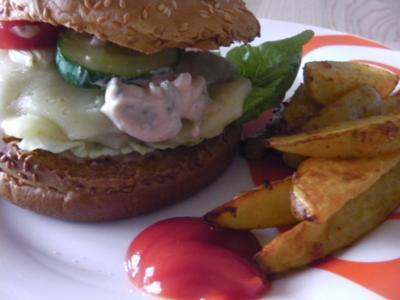 American Jalapeno Cheeseburger with HOT-Wedges and Jalapeno-Burgersauce - Rezept
