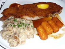 Schnitzel mit braune Rahmchampignons - Rezept