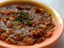 Herzhafter Linsen-Gemüse-Eintopf mit Kabanossi und Kasseler - Rezept
