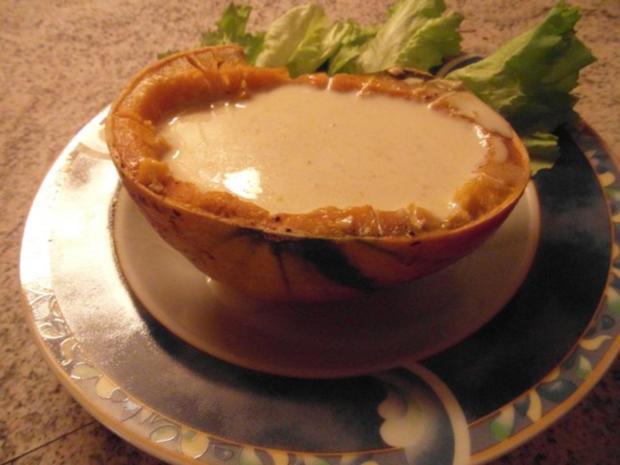 Kürbiss mit Schmelzkäse in der Schale gekocht - Rezept - Bild Nr. 5