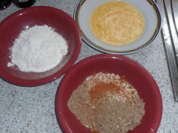 Knusprige Kohlrabischnitzel mit Apfel-Joghurt-Dip, Gurken-Birnen-Salat und Kartoffelpüree - Rezept - Bild Nr. 9