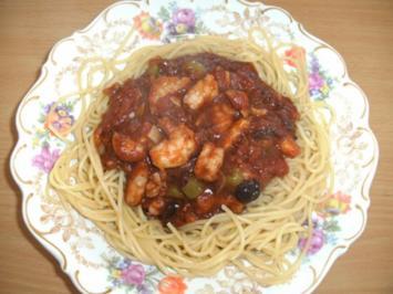 Hauptgericht: Spaghetti mit Riesengarnelen und Tomaten - Rezept