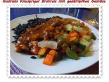 Gemüse: Knusperreis mit gedämpften Gemüse und Tomatensoße - Rezept