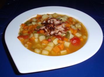 Kartoffel-Karotten-Suppe mit Schinken-Topping - Rezept