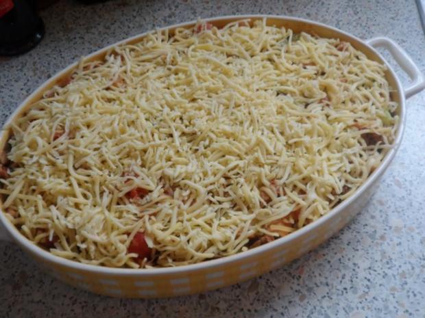 Hähnchen-Nudel-Auflauf mit Champignons, Broccoli und Tomaten-Sahne-Soße - Rezept - Bild Nr. 13