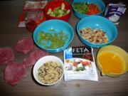 Griechische Medaillons an Wildreis+ Wintergemüse umrahmt von Metaxa-Sahnesoße - Rezept