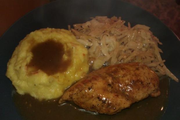 Geschmorte Hähnchenbrust mit Kartoffel-Kürbisstampf und Bayrisch Kraut - Rezept - Bild Nr. 3