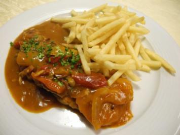 Rezept: Zigeunerschnitzel (natur) dazu Pommes Frites