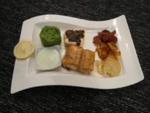 Mit Ahornsirup glasierter Lachs und Lachs unter Olivenkruste an Wasabischaum - Rezept