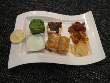 Rezept: Mit Ahornsirup glasierter Lachs und Lachs unter Olivenkruste an Wasabischaum