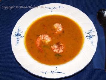 Kürbissuppe Asia mit Kokosmilch und Garnelen - Rezept