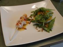 Avocado, Mozzarella, Mango Salat mit einem Sweet Chili Hähnchenspieß - Rezept