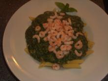Pasta mit Spinat, Thunfisch und Krabben - Rezept