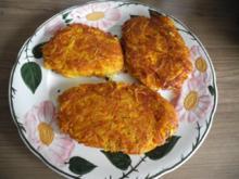 Vegan : Kürbis - Kartoffel - Rösti dazu grünen Salat - Rezept