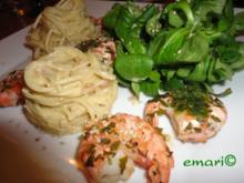 Orientalische Pasta in Hummus Sauce & Riesen Garnelen - Rezept