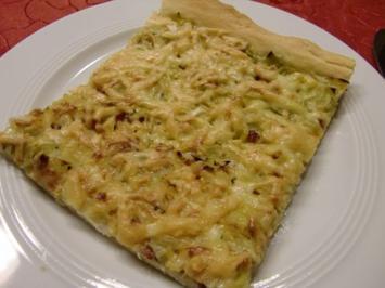 Rezept: Pizza mit Lauch und Schinkenwürfel