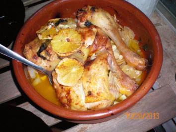 Geflügel: Hühnerbeine mit Zitrone und Orange - Rezept