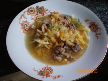 Suppe: Steckrübensuppe mit Suppenfleisch vom Gallowayrind - Rezept